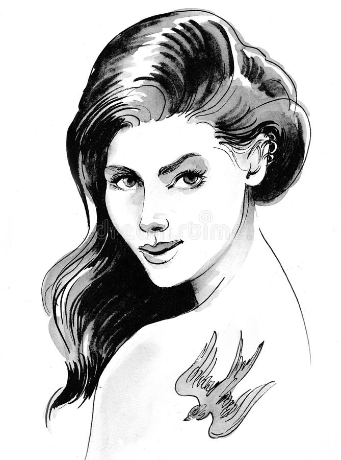 Pretty woman with a bird tattoo vector illustration