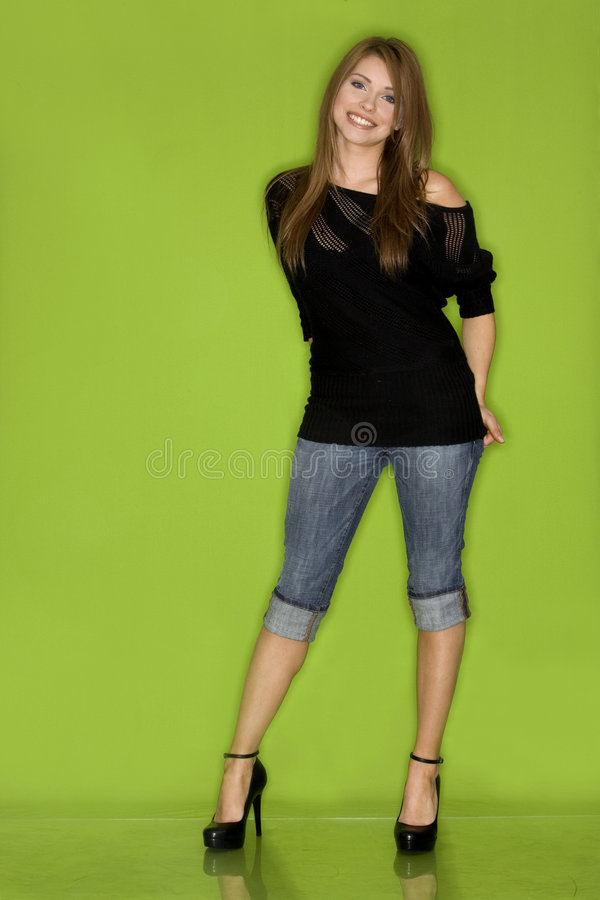 Download Pretty woman in black stock photo. Image of green, fashionable - 2524514