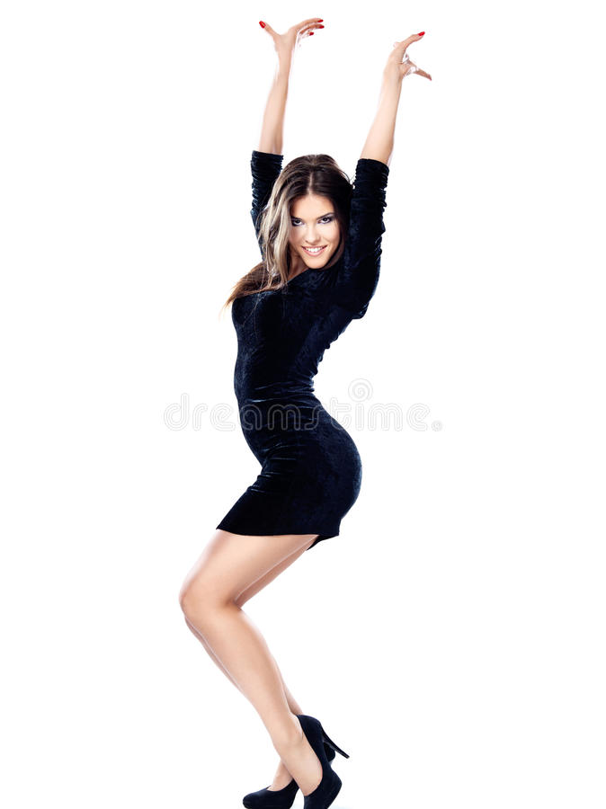 Pretty woman in black dress. Isolated on white background stock photo