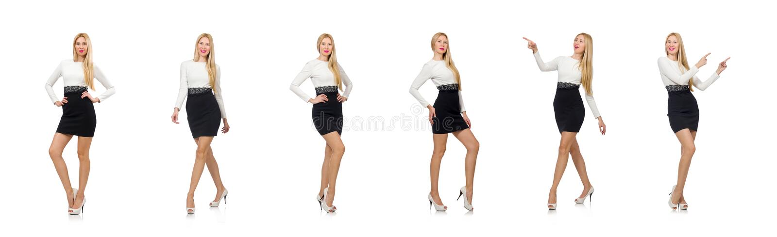 Pretty woman in black and white dress isolated on white stock images