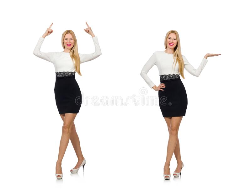 Pretty woman in black and white dress isolated on white stock photo