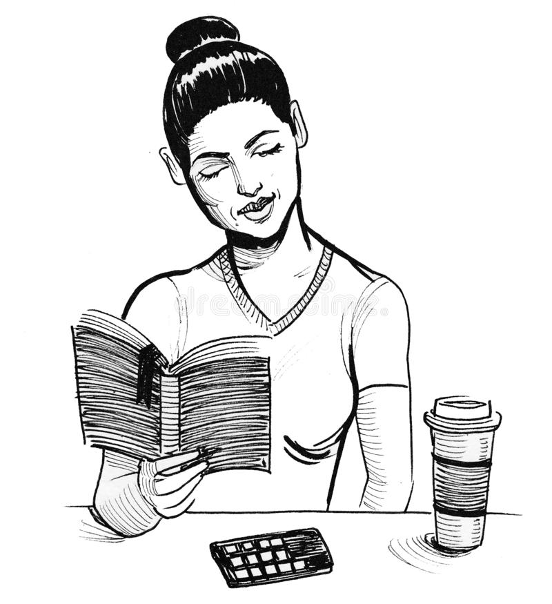 Pretty woman and book stock illustration