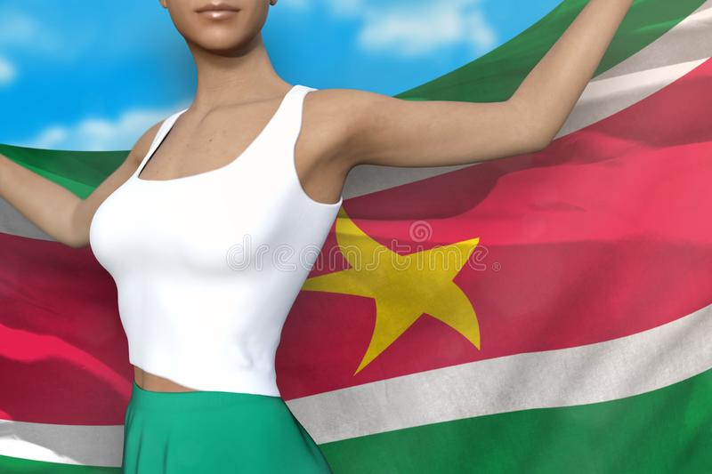 Sexy girl in bright skirt holds Suriname flag in hands behind her back on the cloudy sky background - flag concept 3d illustration. Pretty woman in bright skirt stock illustration