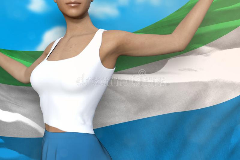 Pretty woman in bright skirt holds Sierra Leone flag in hands behind her back on the cloudy sky background - flag concept 3d. Beautiful lady in bright skirt is vector illustration