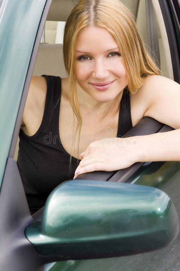 Pretty Woman In The Car Royalty Free Stock Photo