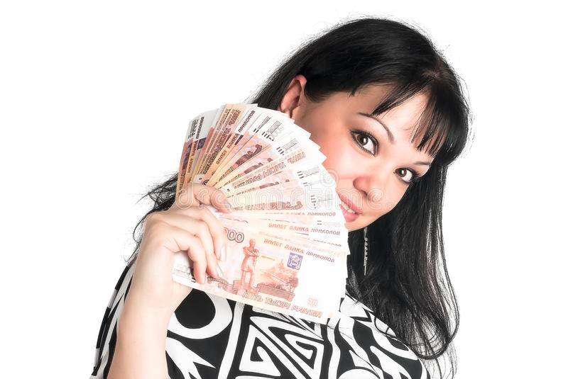 Pretty woman with cash stock images