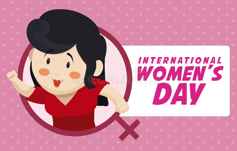 Pretty Woman Character with Hand in High for Women's Day Design, Vector Illustration stock photos