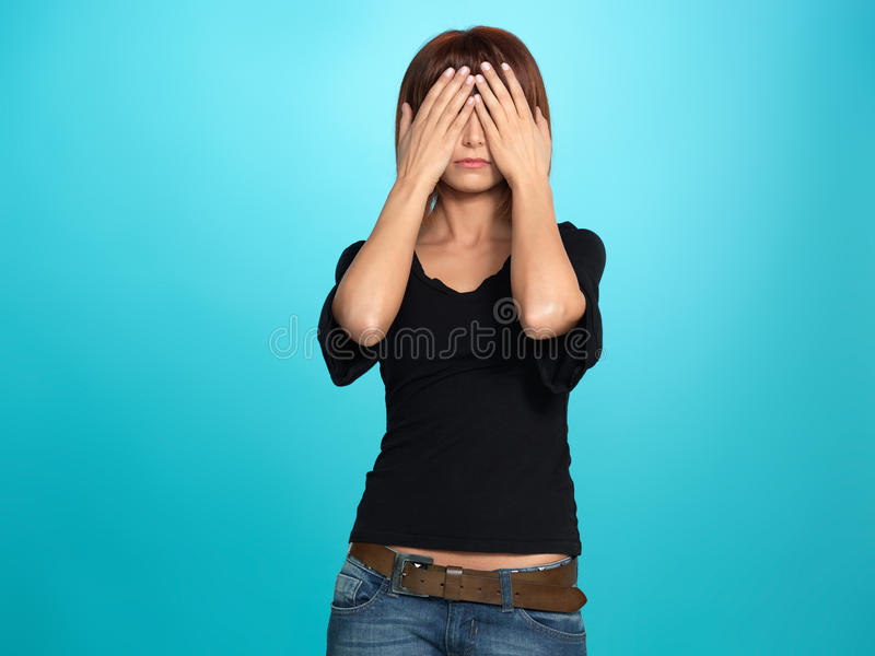 Download Pretty Woman Covering Her Eyes Stock Image - Image: 24239927