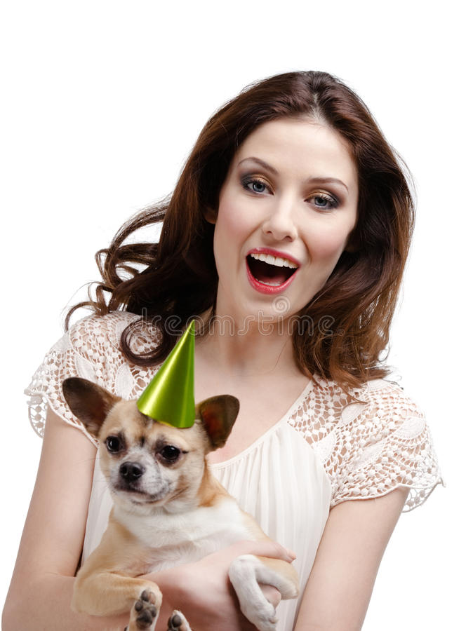 Download Pretty Woman Is In Delight At Her Straw-colored Small Dog Royalty Free Stock Photography - Image: 28593187