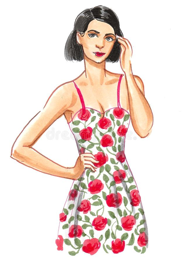 Pretty woman and dress royalty free illustration