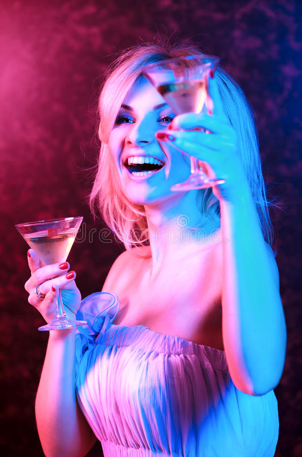 Free Pretty Woman Drinking Cocktail In Nightclub Stock Photography - 23340592
