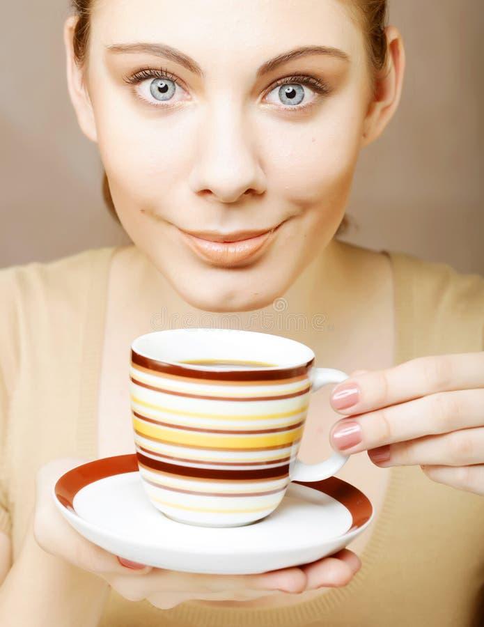 pretty woman drinking coffee stock photos