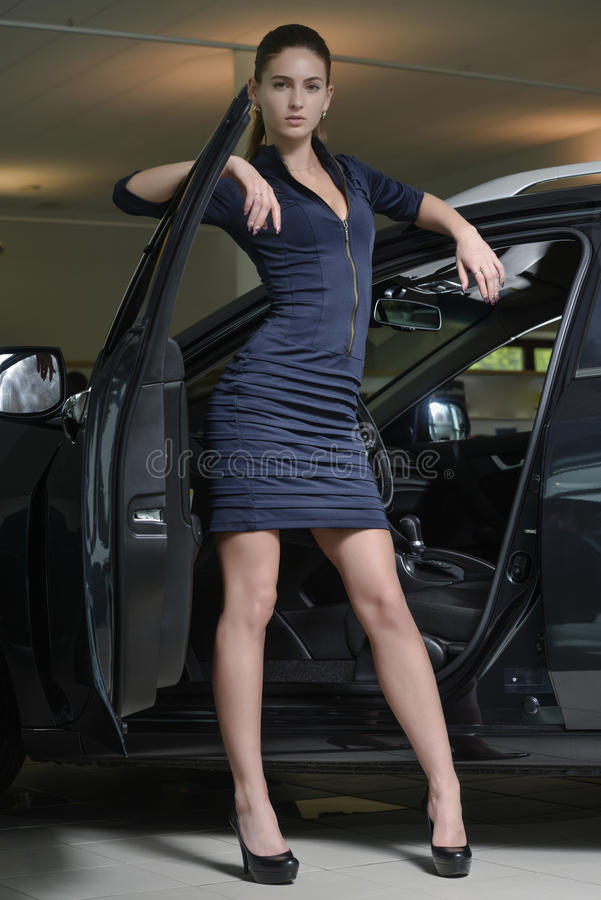 Pretty Woman Driver And Her Car Stock Photo Image Of