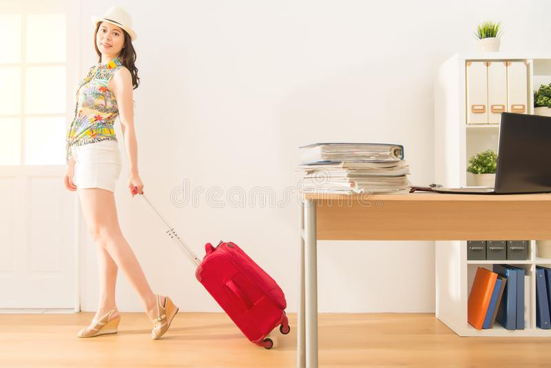 Pretty woman enjoy holiday escape work stock images