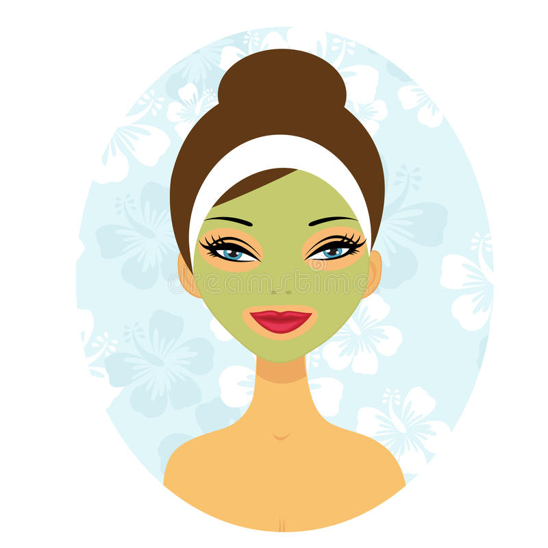 A pretty woman enjoying facial mask royalty free illustration