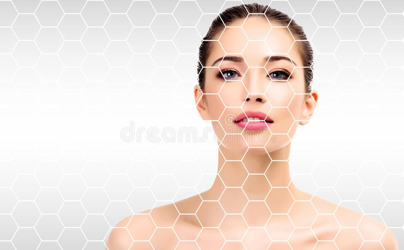 Pretty woman face, skin treatment concept. stock photo