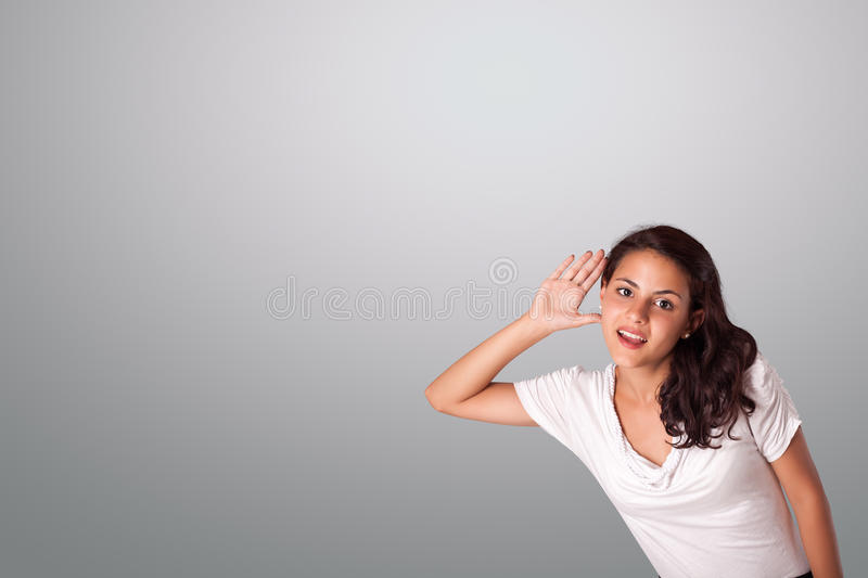 Download Pretty Woman Gesturing With Copy Space Stock Photo - Image: 32260276