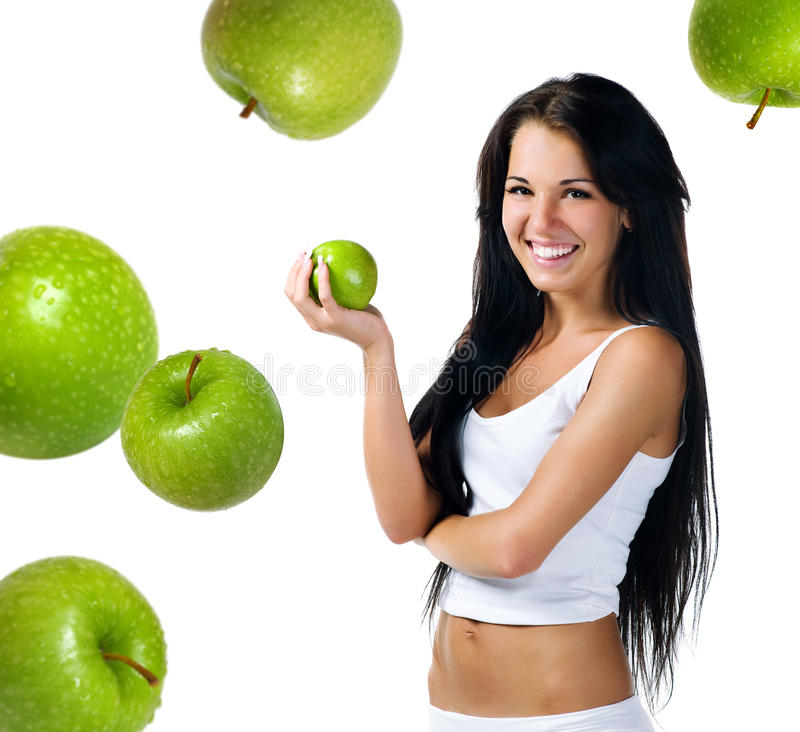 Download Pretty Woman With Green Apple Stock Photo - Image of beautiful, dieting: 13676956