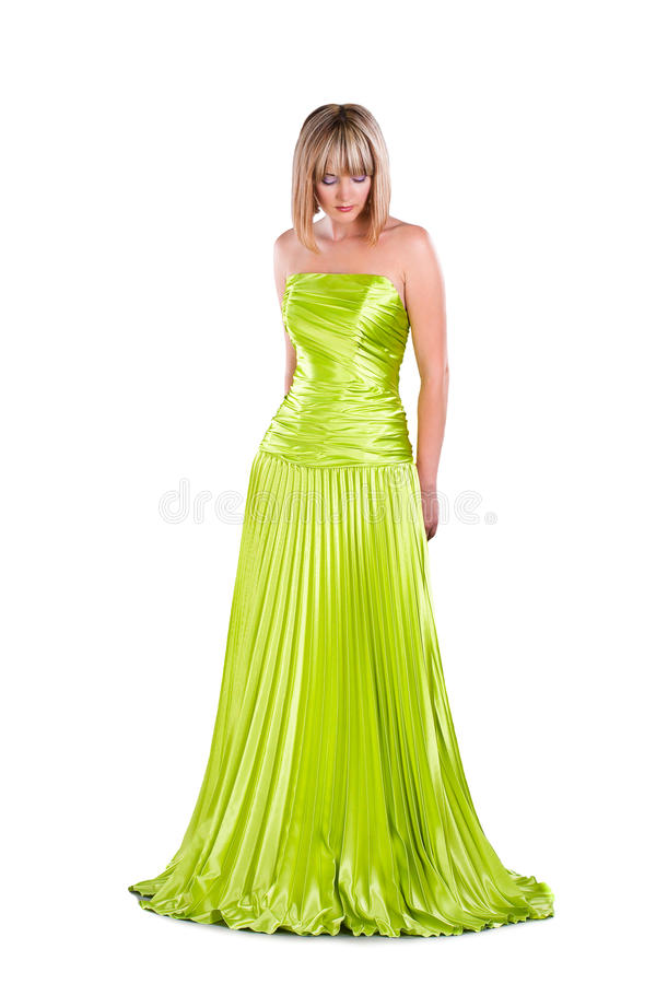 Download Pretty Woman In Green Gown Isolated On White Stock Photo - Image: 23103566