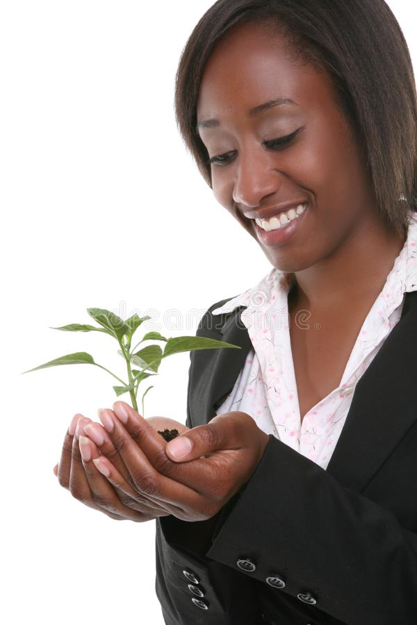 Pretty Woman and Growth Plant stock photos