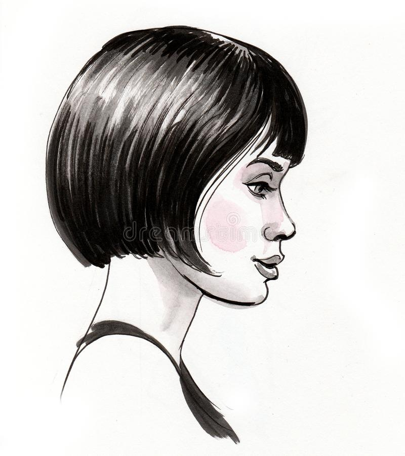 Pretty woman with a haircut stock illustration
