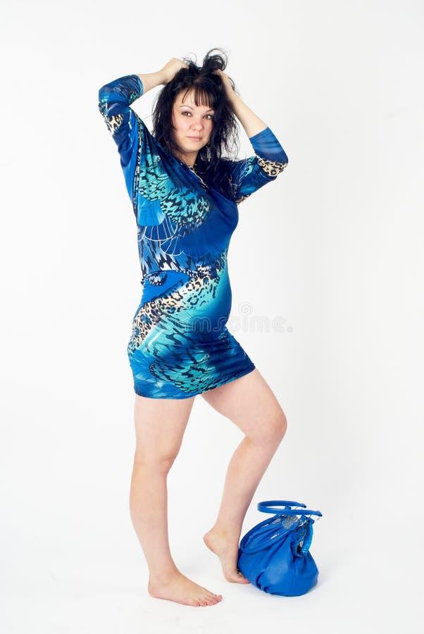 Pretty woman with handbag royalty free stock photos