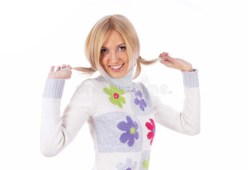 Pretty woman with hands in hair stock images