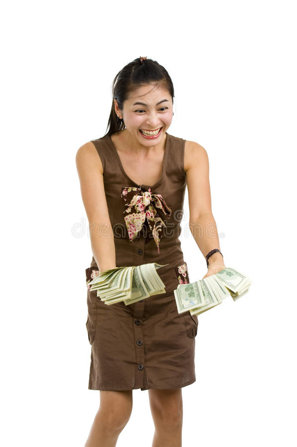 Pretty Woman Happy With Lots Of Money Stock Photo