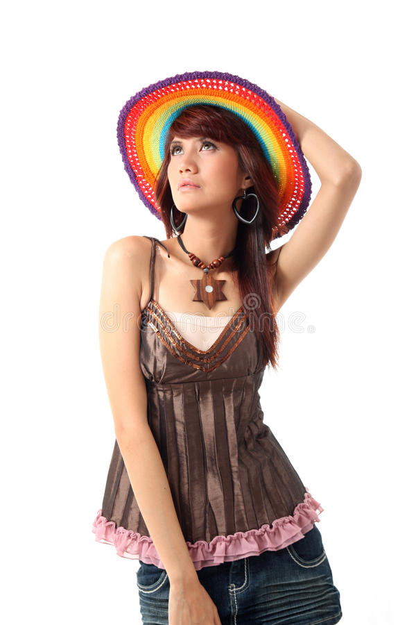 Pretty woman with hat stock photo