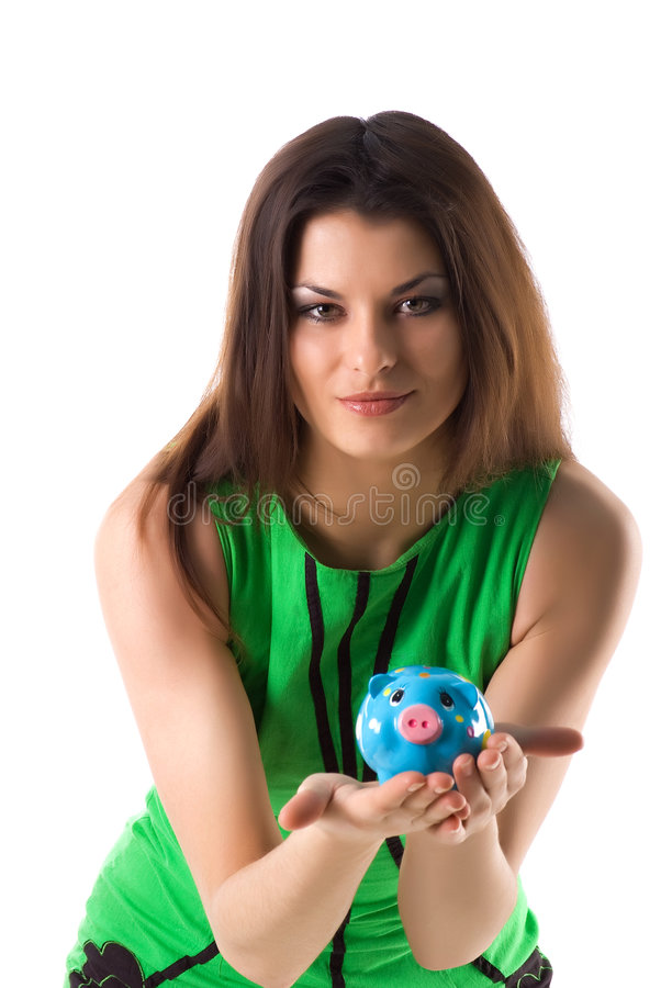 Pretty woman hold blue piggy bank stock images