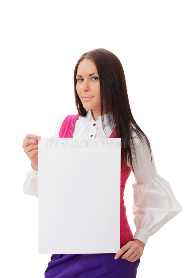 Download Pretty Woman Holding Blank Page Stock Image - Image: 19591211