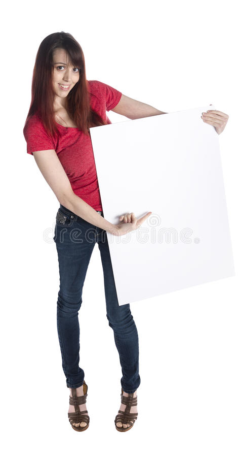 Pretty Woman Holding Cardboard with Copy Space. Full LEngth Shot of a Young Pretty Woman Holding Blank Empty Cardboard with Copy Space, Isolated on White stock image