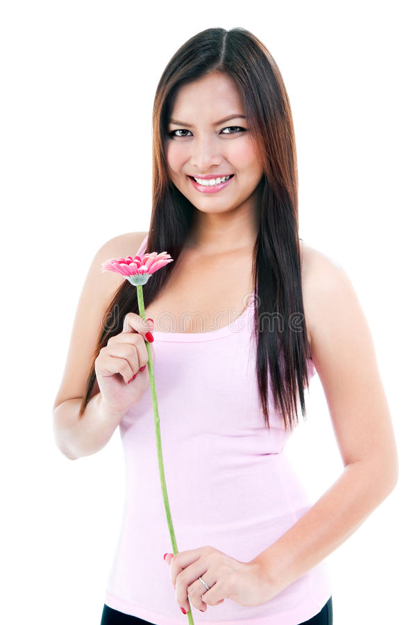 Download Pretty Woman Holding Flower Stock Photo - Image: 26271406