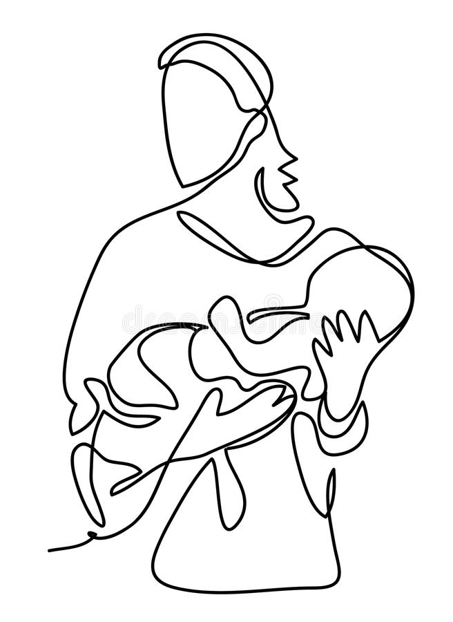 Pretty woman holding a newborn baby in her arms. Continuous line drawing. Isolated on the white background. Vector vector illustration