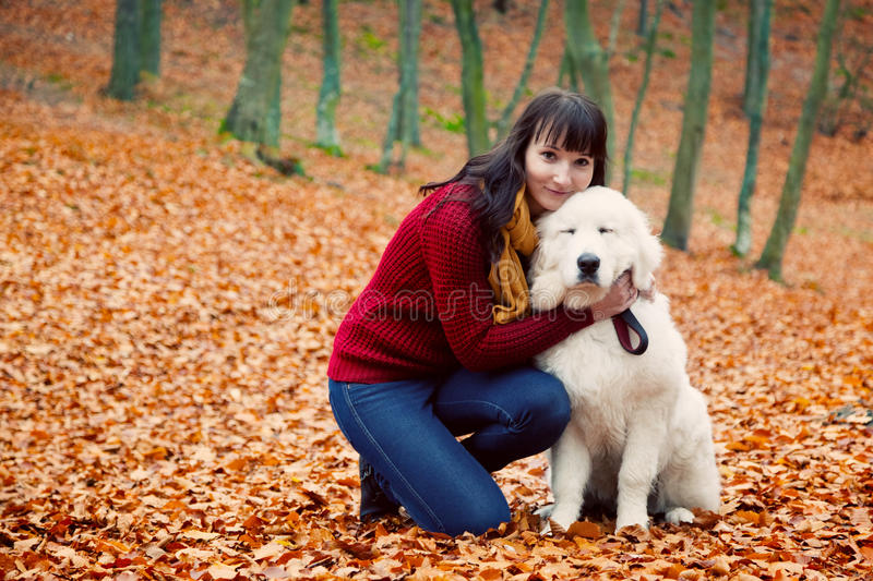 Pretty woman hugging cute puppy dog in autumn park stock photography
