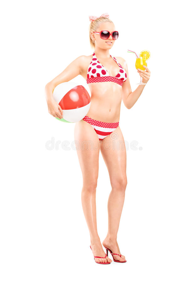 Free Pretty Woman In Bikini Drinking A Cocktail Stock Image - 43007931