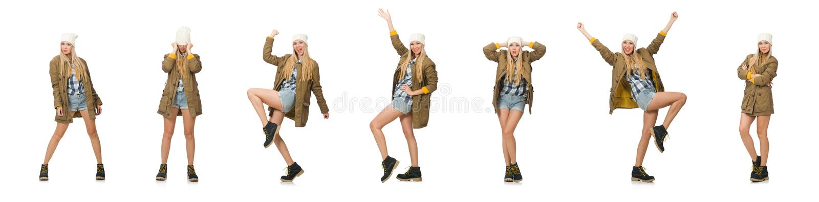 Pretty woman in jeans shorts isolated on white royalty free stock image