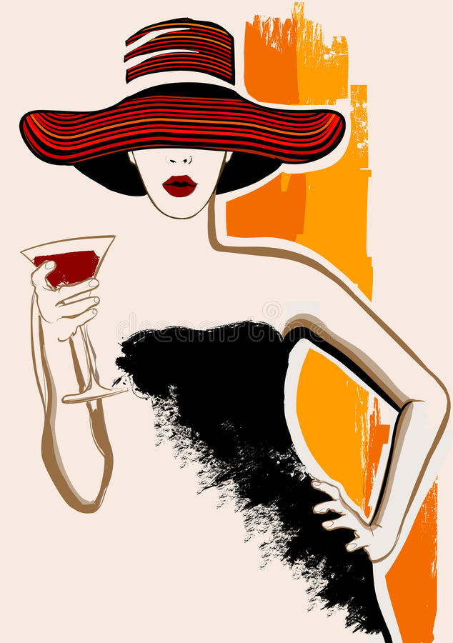 Pretty woman with large hat having cocktail royalty free illustration