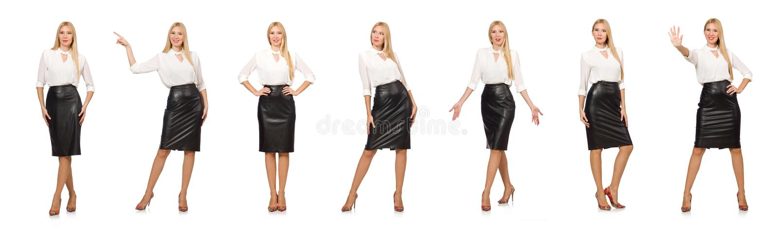 The pretty woman in leather skirt isolated on white stock photo