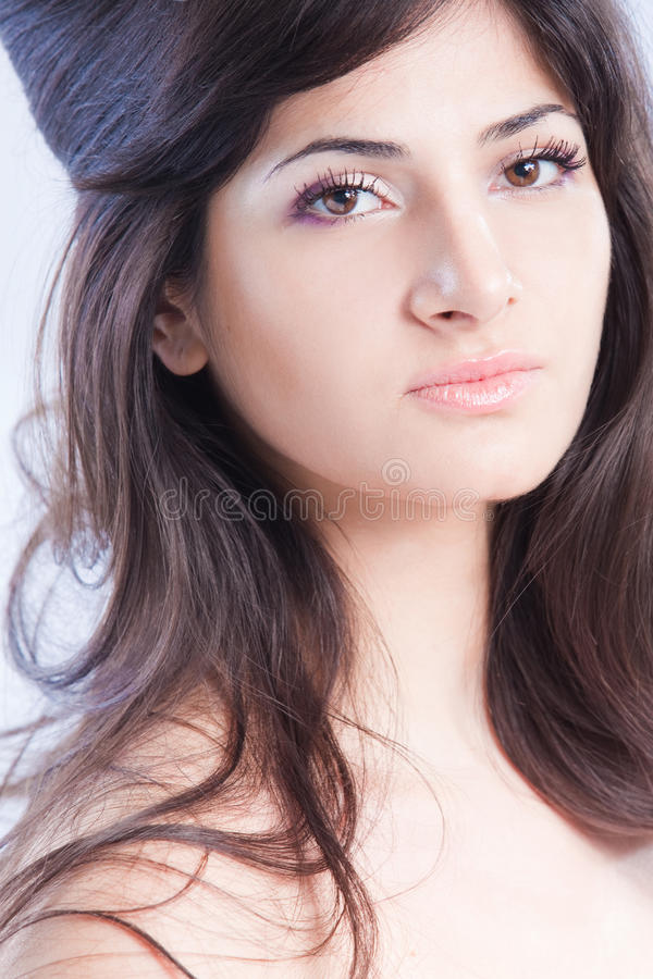 Pretty Woman With Long  Brown Hair Stock Photos