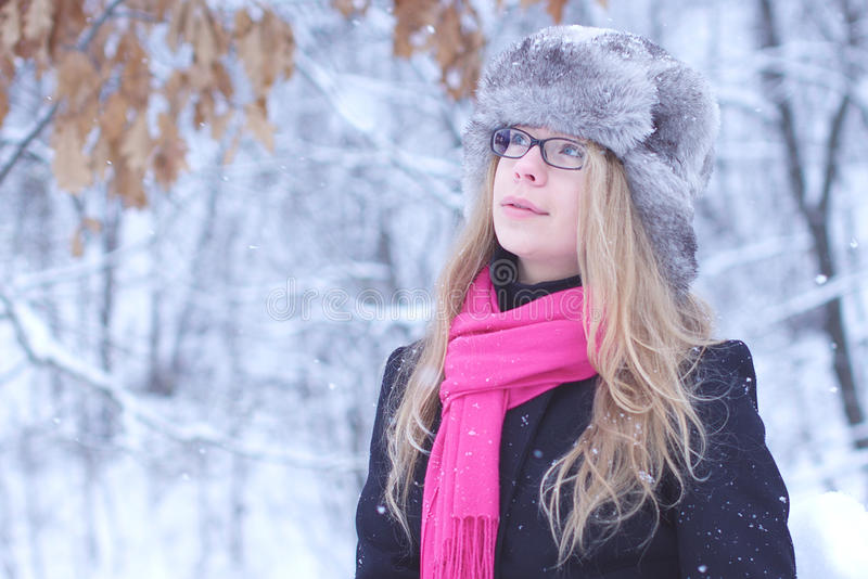 Pretty Woman Look In Winter With Snow Stock Image