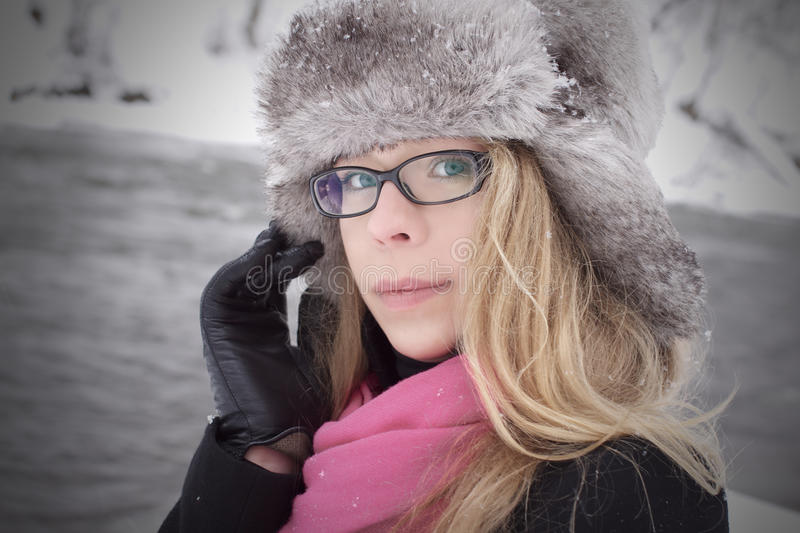 Download Pretty Woman Look In Winter With Snow Stock Photo - Image: 23139796