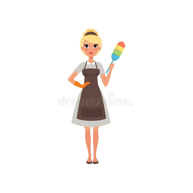Pretty woman maid holding colorful dust brush. Hotel cleaning service. Cartoon blond girl character wearing dress, apron vector illustration