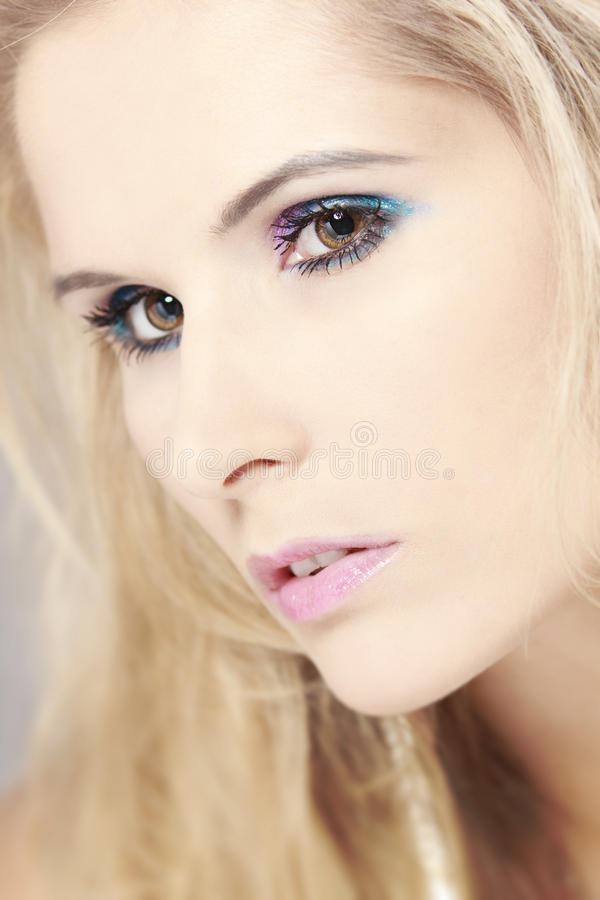 Pretty woman with makeup stock image