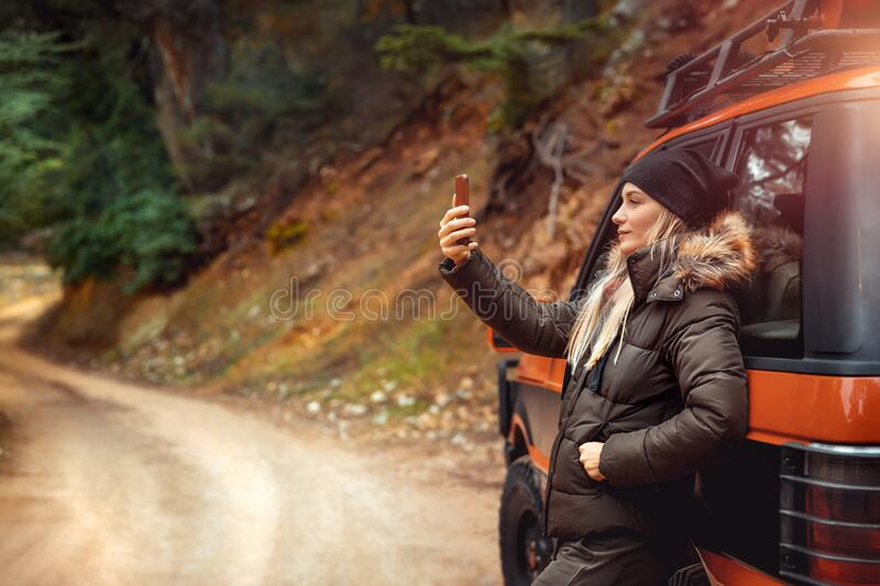 Pretty woman making selfie stock photo