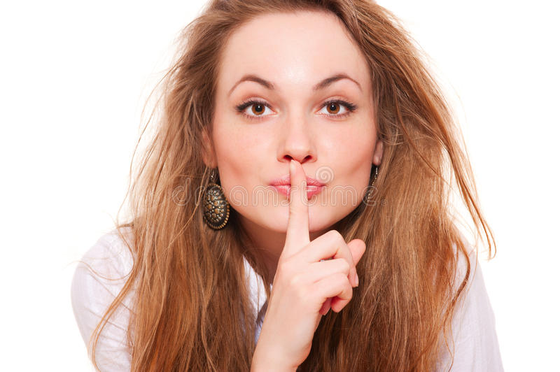 Download Pretty Woman Making Silence Sign Stock Image - Image: 19037633