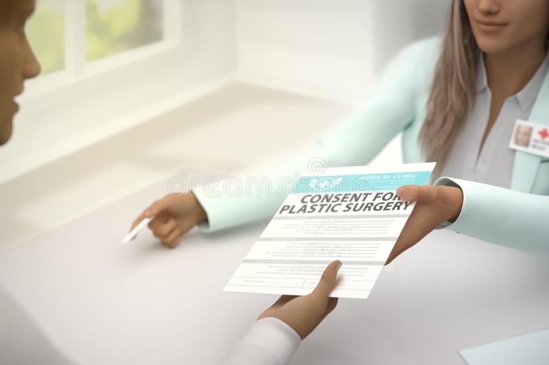 Medical illustration with selective focus - wonderful female medical doctor gives patient consent for plastic surgery to sign in a stock illustration