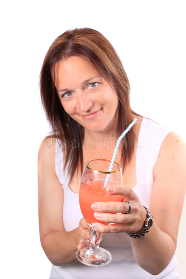 Pretty Woman Offering A Drink, Cheers Stock Images