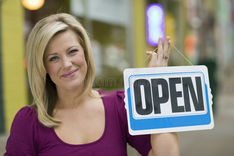 Download Pretty Woman With Open Sign Stock Images - Image: 3982994