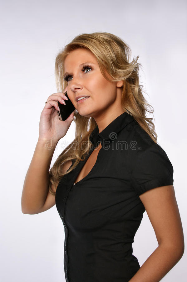 Download Pretty woman on the phone stock image. Image of looking - 28128285
